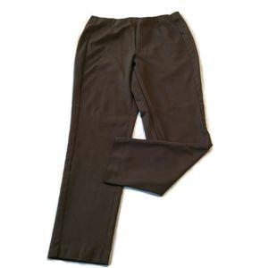 J Jill Ponte Knit Pants Slim Leg Dark Brown Size M